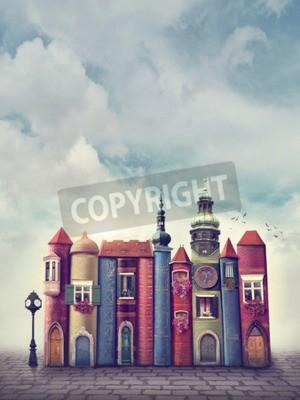 Плакат Волшебный город со старыми книгами