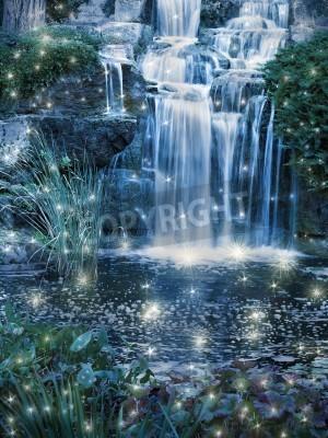 Плакат Magic night waterfall scene
