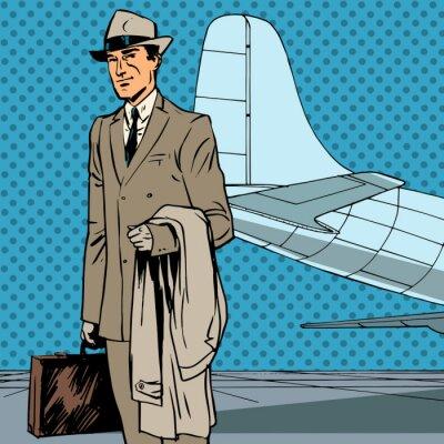 Плакат Мужской воздуха путешественник пассажиров командировка бизнесмен поп-арт повторно