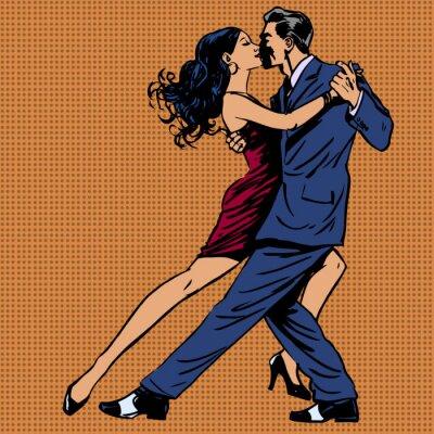 Плакат мужчина и женщина поцелуй танцевать танго поп-арт