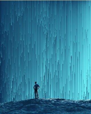 Плакат Человек смотрит на цифровой поток
