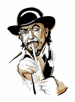 Плакат Человек играет на трубе.