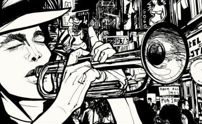 Плакат человек, играющий на трубе в районе красных фонарей
