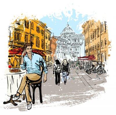 Плакат Человек, сидящий в кафе