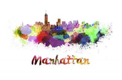 Плакат Манхэттена горизонты в акварели
