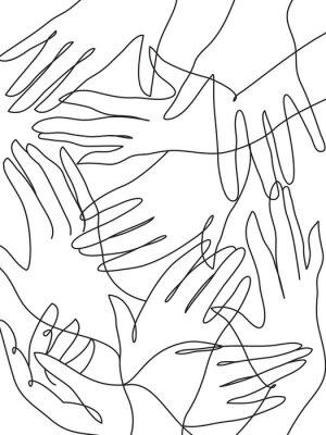 Плакат Много рук рисования линии искусства