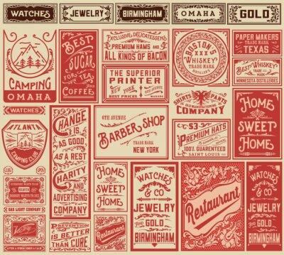 Плакат Мега пакет ретро дизайн этикетки и рекламы - Вектор ILLUST