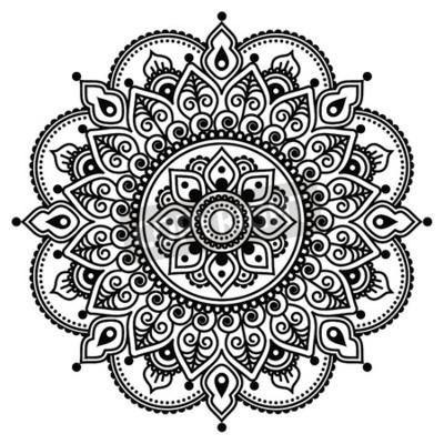 Плакат Менди, Индийский хна тату рисунок или фон