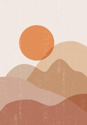 Плакат Mid century sunset print boho minimalist printable wall art