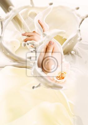 Плакат Milk and hands. Creative illustration
