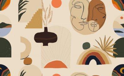 Плакат Modern minimalist abstract aesthetic pattern. Bohemian style. Fashionable template for design.