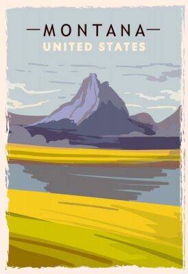 Плакат Montana retro poster. USA Montana travel illustration. United States of America greeting card. vector illustration.