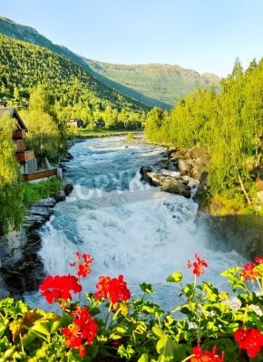 Плакат Утро над рекой Bovra в Норвегии.