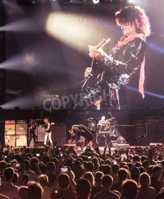 Плакат МОСКВА, РОССИЯ - 24 мая 2014 - Amerocan рок-группа Aerosmith выступает на Олимпийском 24 мая 2014 года в Москве