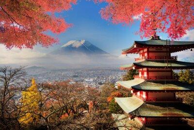 Плакат Гора Fuji с цвета осени в Японии.