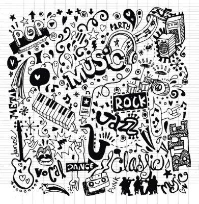 Плакат Музыкальный фон, рисунок Doodle рук