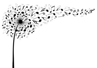 Плакат музыка одуванчика цветок, векторные иллюстрации