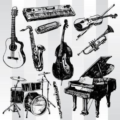 Плакат Музыкальные инструменты Hand Drawn