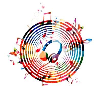 Плакат Музыкальные ноты фон с наушниками