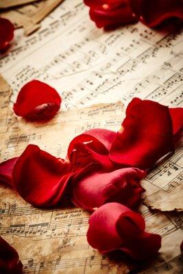 Плакат Музыка листы с лепестками роз