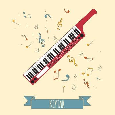 Плакат Музыкальные инструменты графический шаблон. Keytar.