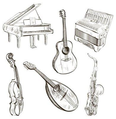 Плакат музыкальные инструменты в эскиз-стиле