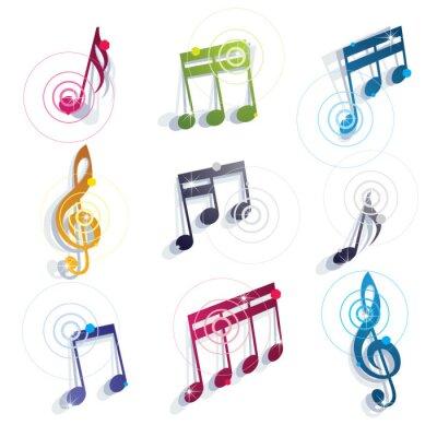 Плакат Установить музыкальные ноты иконки.