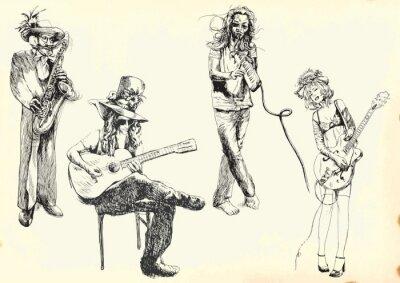 Плакат музыканты - Коллекция из рук рисунки в вектор