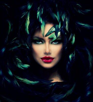 Плакат Таинственная женщина Портрет. Красивая женщина модель лица Крупным планом