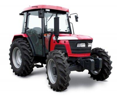 Плакат Новый красный трактор, изолированных на белом фоне