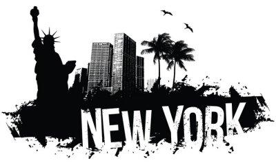 Плакат Нью-Йорк Баннеры черный