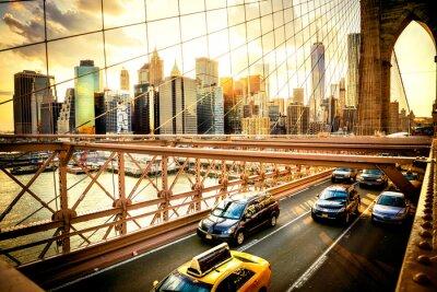 Плакат Нью-Йорк, Бруклинский мост, панорама