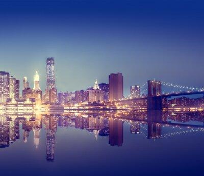Плакат Нью-Йорк City Lights Живописный мост Посмотреть Концепция