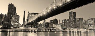 Плакат Нью-Йорк ночью панорама