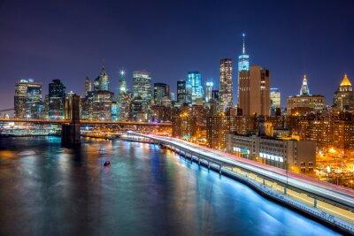 Плакат ночная сцена Нью-Йорка с Манхэттена и Brooklin B