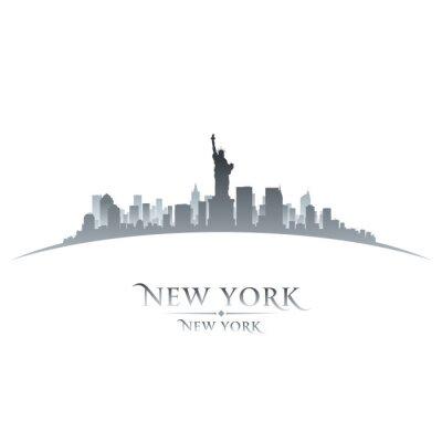 Плакат Нью-Йорк город небоскребов силуэт на белом фоне