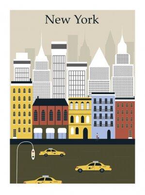 Плакат Город Нью-Йорк. Вектор