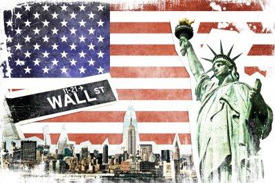 Плакат New York City vintage collage, US flag background