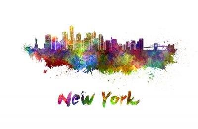 Плакат Горизонт Нью-Йорка в акварели