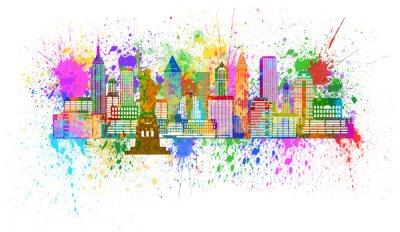 Плакат New York Skyline Paint Splatter Illustration