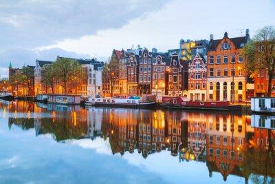 Плакат Ночной город вид Амстердаме, Нидерланды
