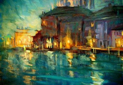 Плакат ночной пейзаж в Венецию, живописи маслом на фанеры, иллюстрирующих