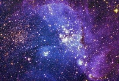 Плакат Ночное небо с облаками звезды туманности фон. Красочные фрактальной краски, свет на предмет искусства, аннотация, творчества. Планеты и галактики в свободном пространстве. Элементы этого изображения,