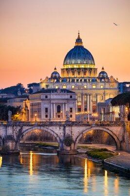 Плакат Ночной вид на базилику Святого Петра в Риме, Италия
