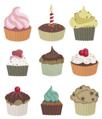 Плакат Девять кексы. Векторные иллюстрации из девяти вкусных кексов.