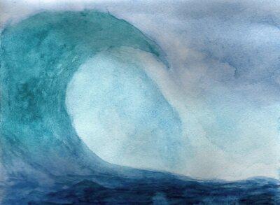 Плакат Волны океана акварелью