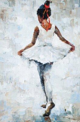 Плакат картина маслом, девушка балериной. обращается мило балерина танцует