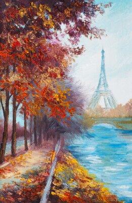 Плакат Масло Эйфелевой башни, Франция, осенний пейзаж