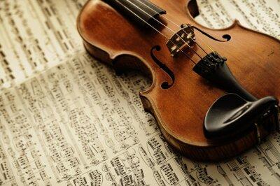 Плакат старые и редкие скрипки на ноту листа