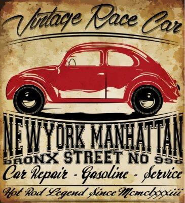Плакат Старый автомобиль Урожай классический ретро человек майка Графический дизайн